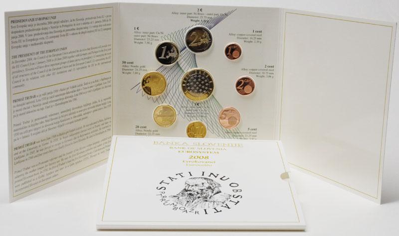 Lieferumfang:Slowenien : 6,88 Euro original Kursmünzensatz der slowenischen Münze mit Gedenkmünze 3 Euro EU-Präsidentschaft  2008 PP