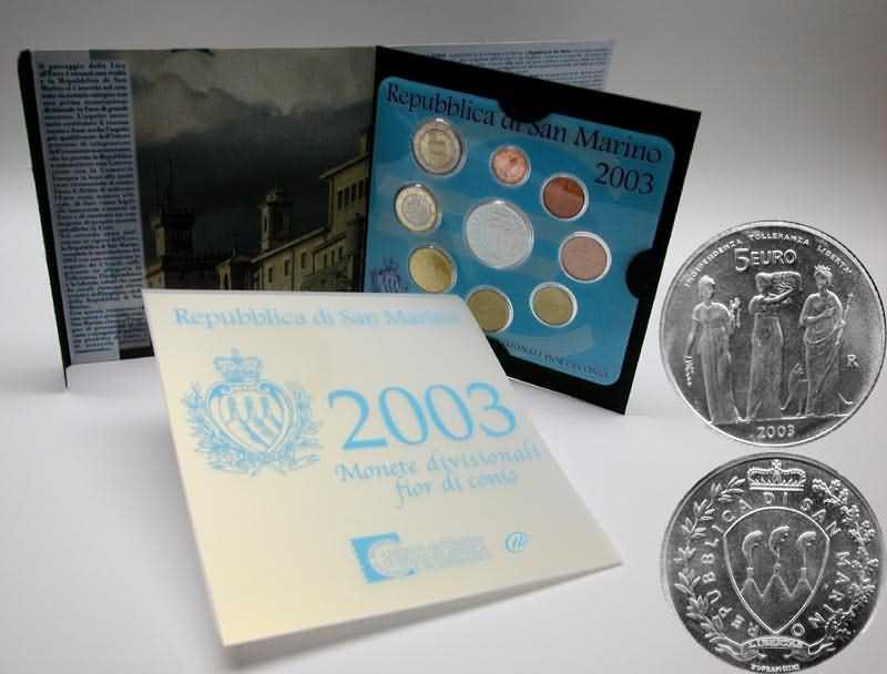 Lieferumfang:San Marino : 8,88 Euro original Kursmünzensatz aus San Marino mit 5 Euro Gedenkmünze  2003 bfr KMS San Marino 2003