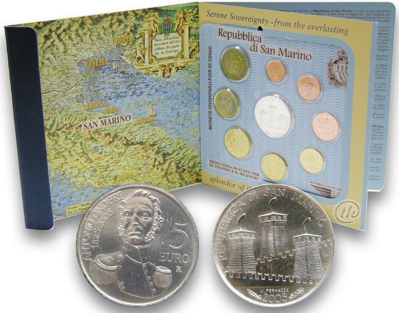 Lieferumfang:San Marino : 8,88 Euro original Kursmünzensatz aus San Marino mit 5 Euro Gedenkmünze  2005 Stgl. KMS San Marino 2005