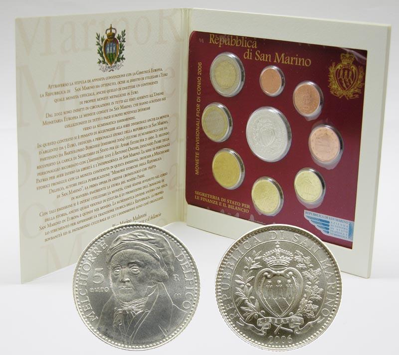Lieferumfang:San Marino : 8,88 Euro original Kursmünzensatz aus San Marino mit 5 Euro Gedenkmünze  2006 Stgl. KMS San Marino 2006