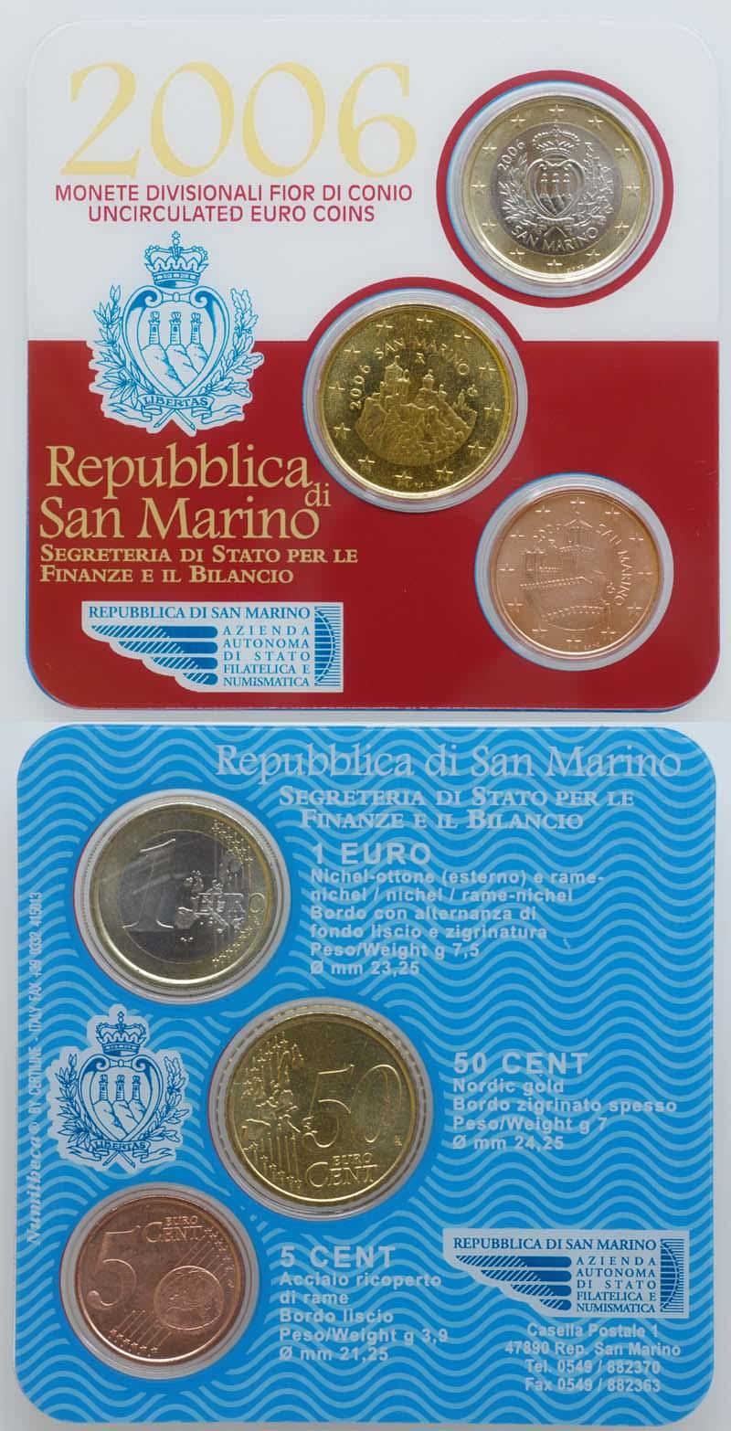 Lieferumfang:San Marino : 1,55 Euro Minikit - Set aus 1 Euro + 50 Cent + 5 Cent  2006 Stgl. Minikit San Marino 2006; KMS San Marino 2006