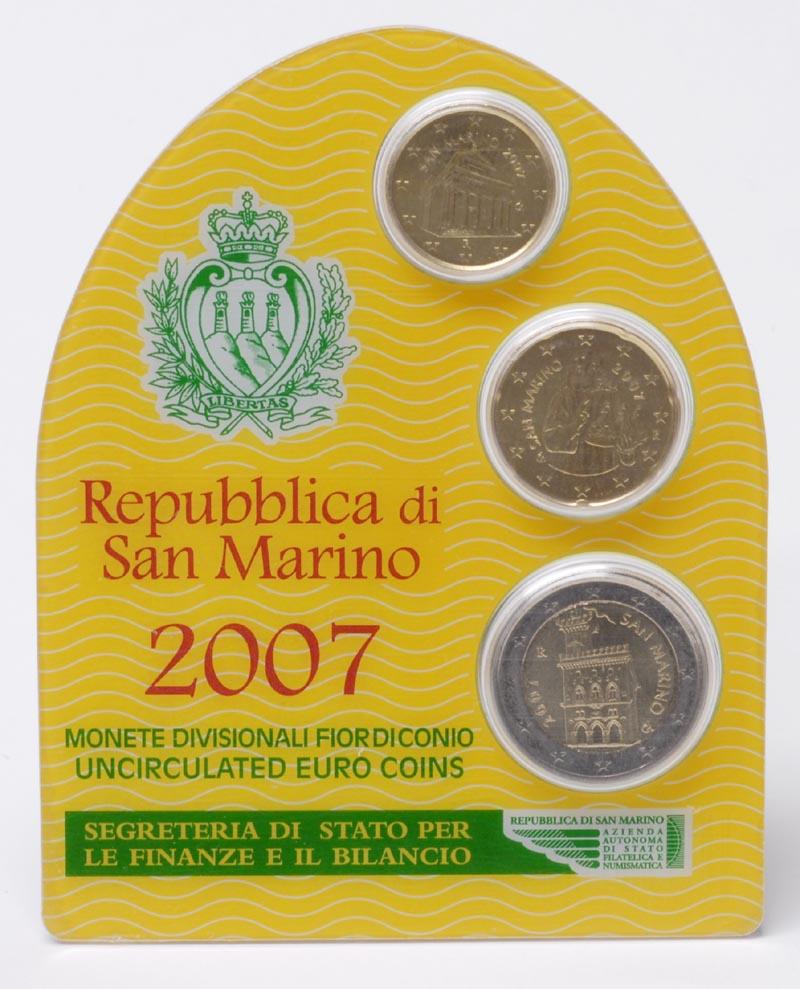 Lieferumfang:San Marino : 2,30 Euro Minikit - Set aus 2 Euro + 10 Cent + 20 Cent  2007 Stgl.