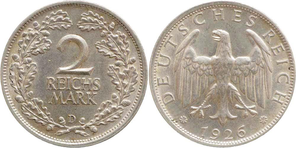 deutschland 2 reichsmark 1926 d silber stgl 76 5 euro. Black Bedroom Furniture Sets. Home Design Ideas