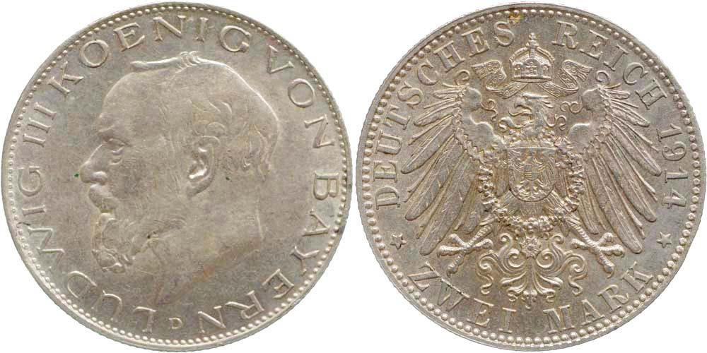 Übersicht:Deutschland : 2 Mark Ludwig III.  1914 vz/Stgl.