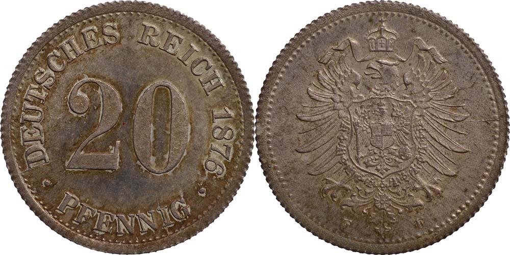 Deutschland : 20 Pfennig   1876 Stgl.