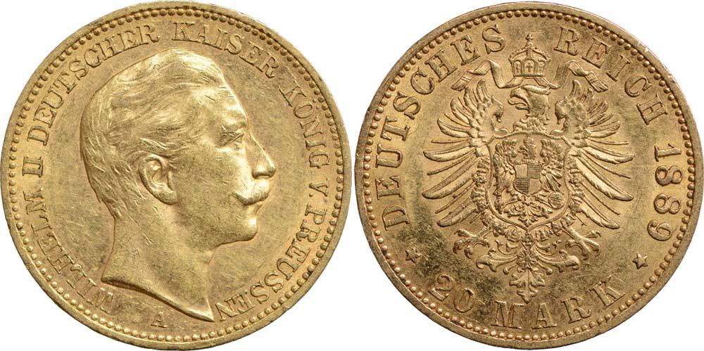 Lieferumfang:Deutschland : 20 Mark Wilhelm II.  1889 vz.