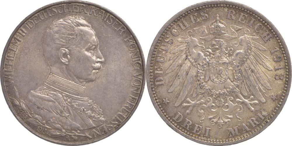 Lieferumfang:Deutschland : 3 Mark Wilhelm II.  1913 vz/Stgl.