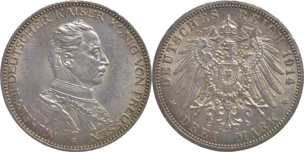 Lieferumfang:Deutschland : 3 Mark Wilhelm II.  1914 vz.
