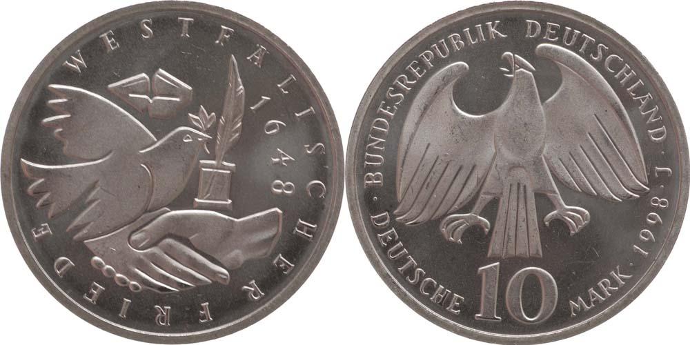 Übersicht:Deutschland : 10 DM 350. Jahrestag d. Westfälischen Friedens  1998 vz/Stgl.