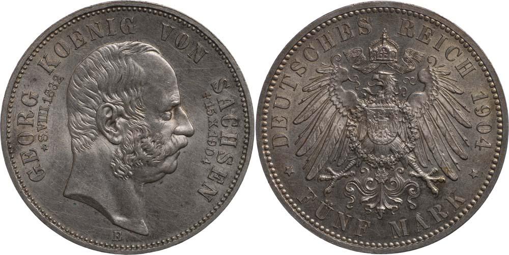 Lieferumfang:Deutschland : 5 Mark Georg a.d. Tod  1904 Stgl.