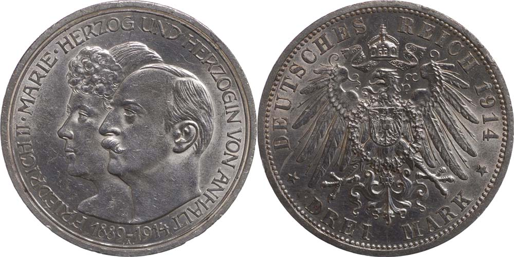 Lieferumfang:Deutschland : 3 Mark Friedrich II. u. Marie  1914 vz.