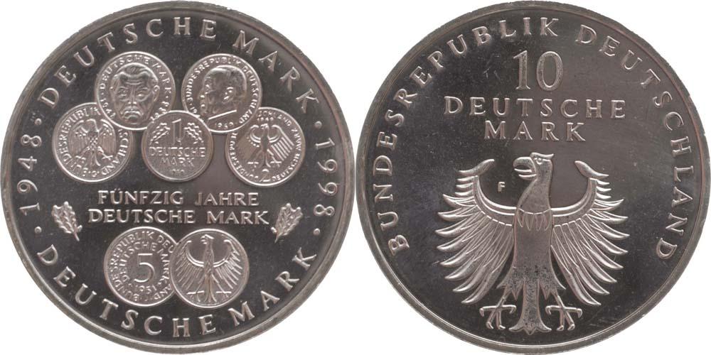 Lieferumfang:Deutschland : 10 DM 50 Jahre Deutsche Mark  1998 vz/Stgl.