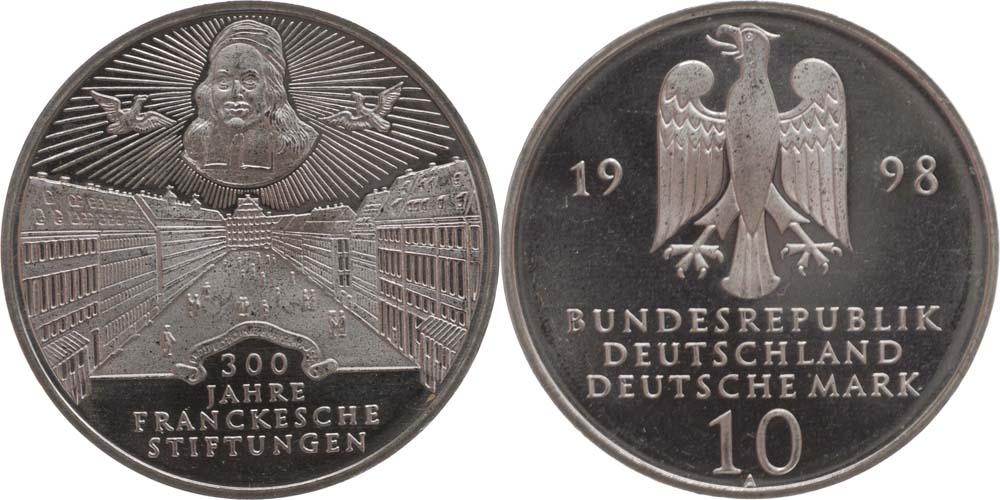 Lieferumfang:Deutschland : 10 DM 300. Jahrestag d. Frankeschen Stiftung  1998 vz/Stgl.