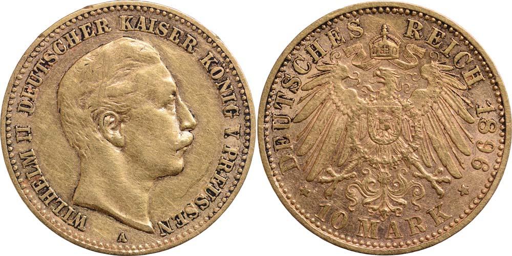 Lieferumfang:Deutschland : 10 Mark Wilhelm II.  1896 ss.