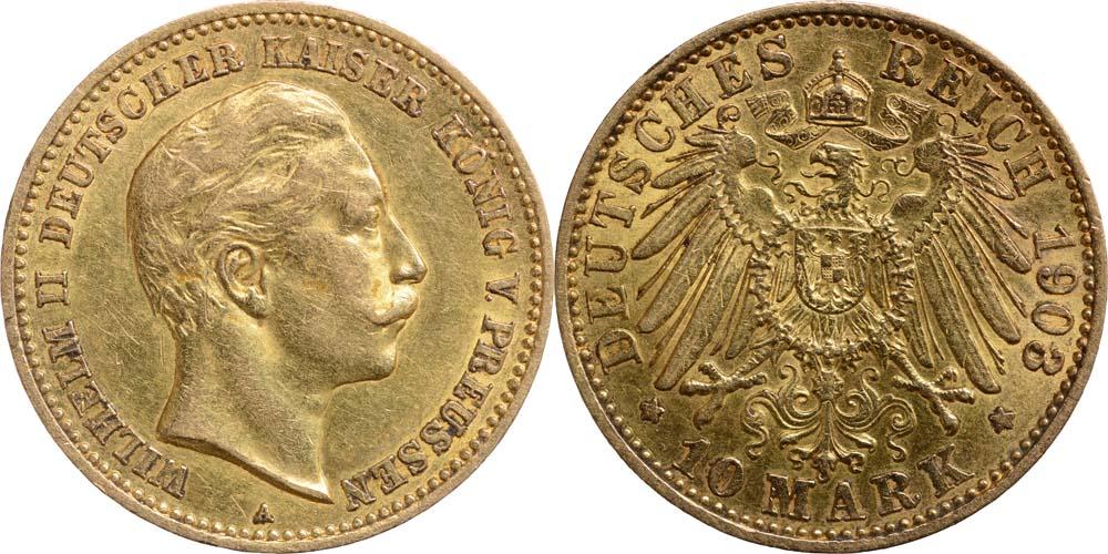 Lieferumfang:Deutschland : 10 Mark Wilhelm II.  1903 vz.