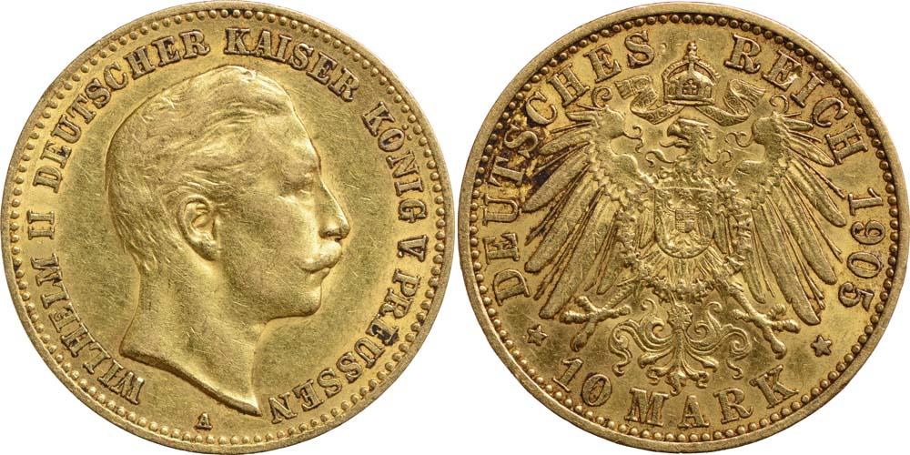 Deutschland : 10 Mark Wilhelm II.  1905 ss.