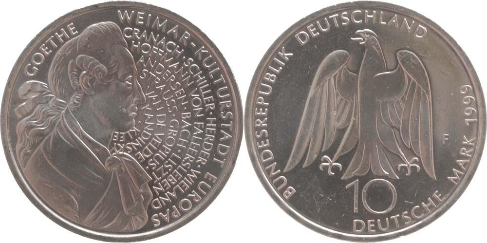 Deutschland : 10 DM 250. Geburtstag Goethes  1999 vz/Stgl.