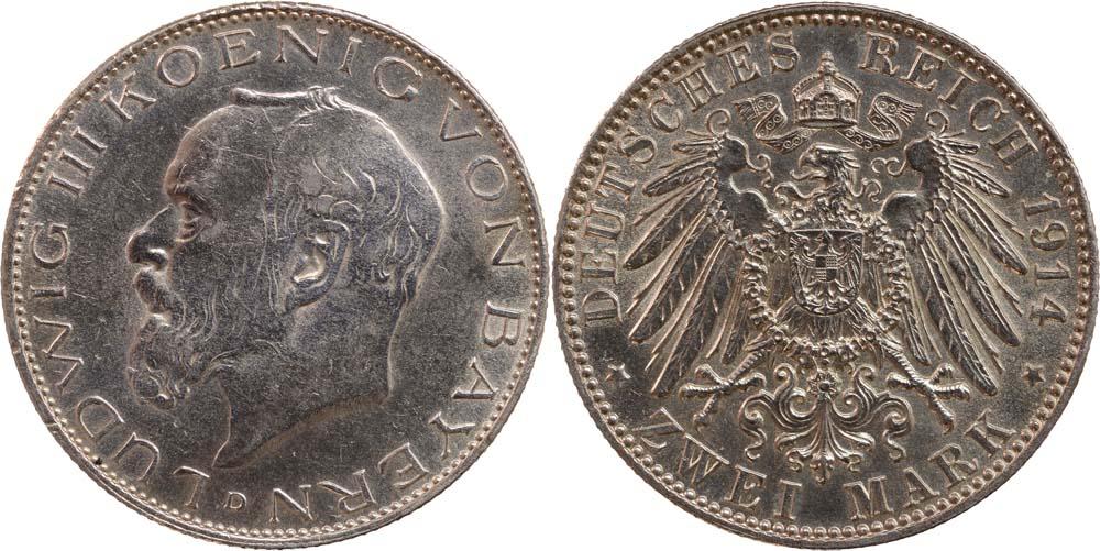 Übersicht:Deutschland : 2 Mark Ludwig III.  1914 vz.