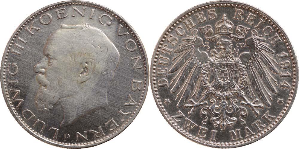 Übersicht:Deutschland : 2 Mark Ludwig III.  1914 ss/vz.
