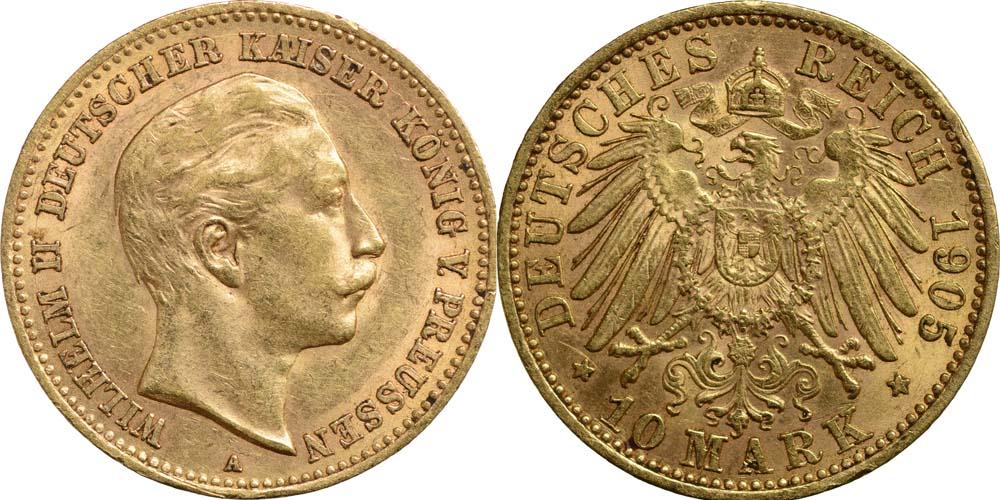 Lieferumfang:Deutschland : 10 Mark Wilhelm II. winz. Rs. 1905 vz.