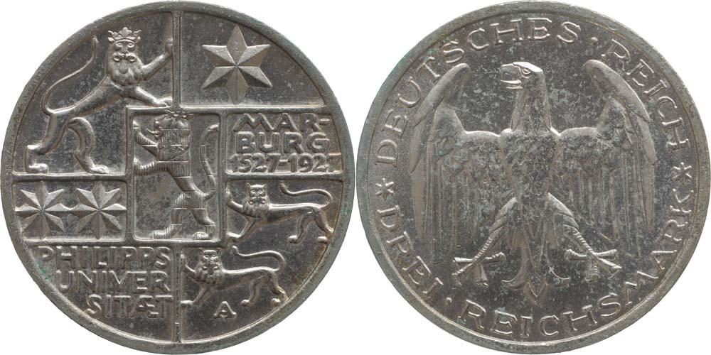 Lieferumfang:Deutschland : 3 Reichsmark Uni Marburg  1927 vz/Stgl.
