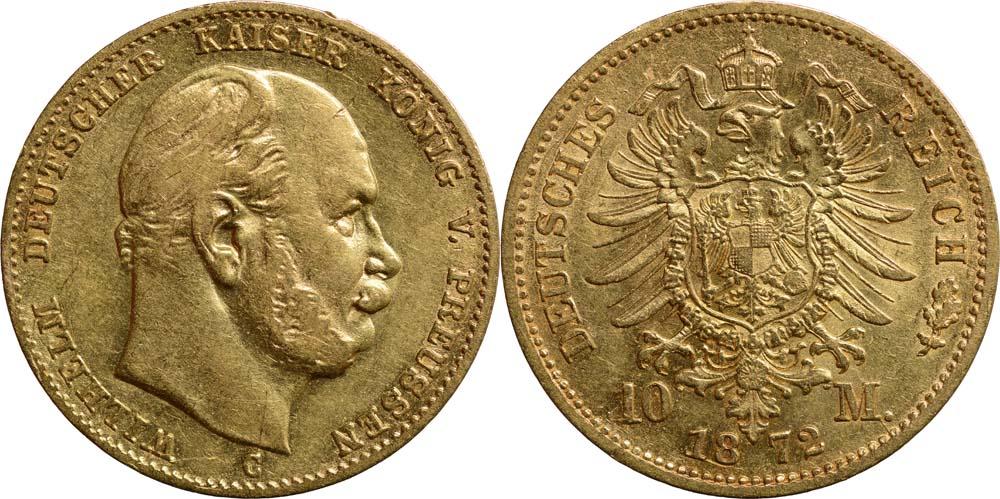 Deutschland : 10 Mark Wilhelm I.  1872 ss/vz.