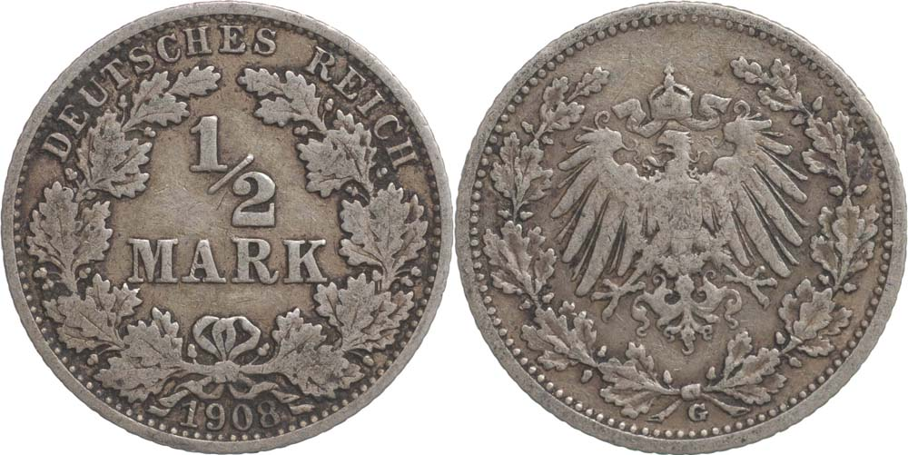 Lieferumfang:Deutschland : 1/2 Mark   1908 ss.