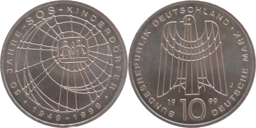 Übersicht:Deutschland : 10 DM SOS Kinderdörfer  1999 vz/Stgl.