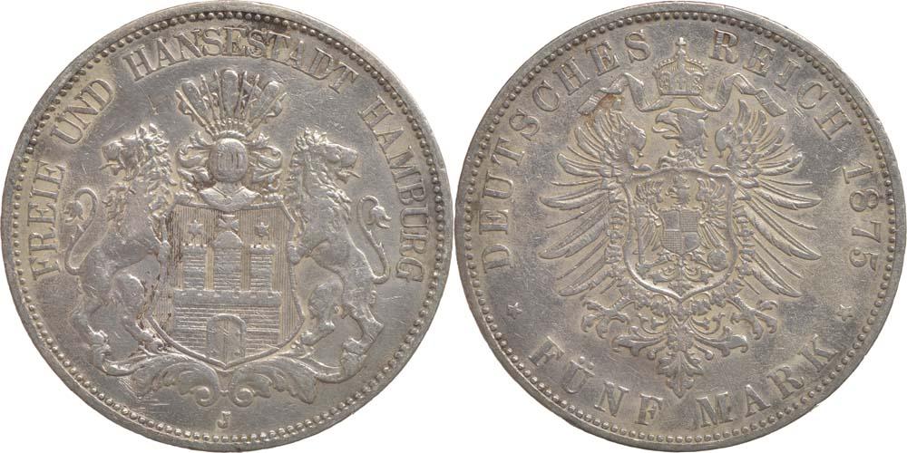 Lieferumfang:Deutschland : 5 Mark   1875 s/ss.