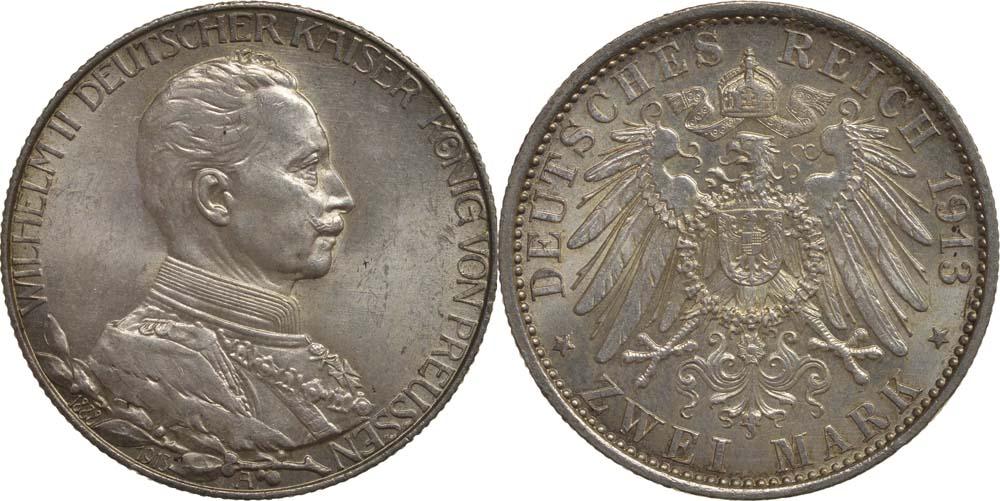 Lieferumfang:Deutschland : 2 Mark Wilhelm II.  1913 Stgl.