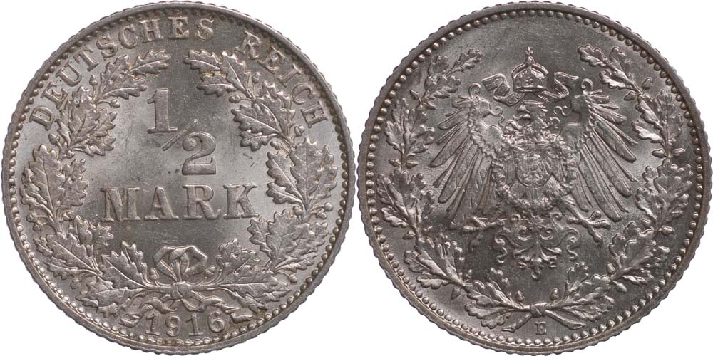 Übersicht:Deutschland : 1/2 Mark   1916 vz/Stgl.