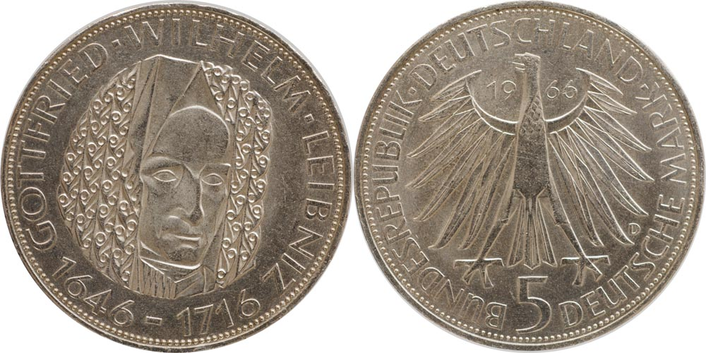 Deutschland : 5 DM Leibniz  1966 vz/Stgl.