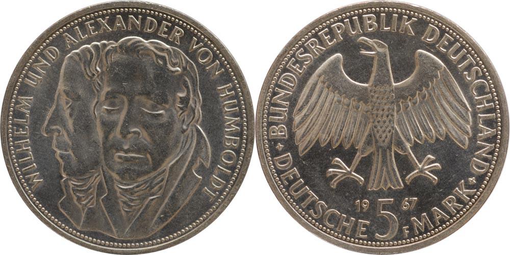 Deutschland : 5 DM Humboldt  1967 vz/Stgl.