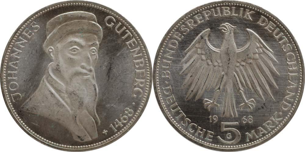 Lieferumfang:Deutschland : 5 DM Gutenberg  1968 vz/Stgl.