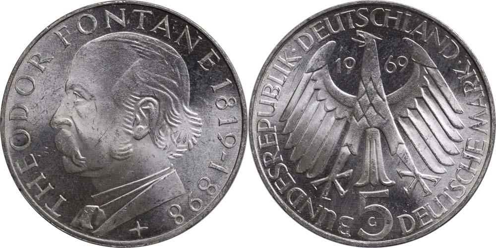 Lieferumfang:Deutschland : 5 DM Fontane  1969 vz/Stgl.