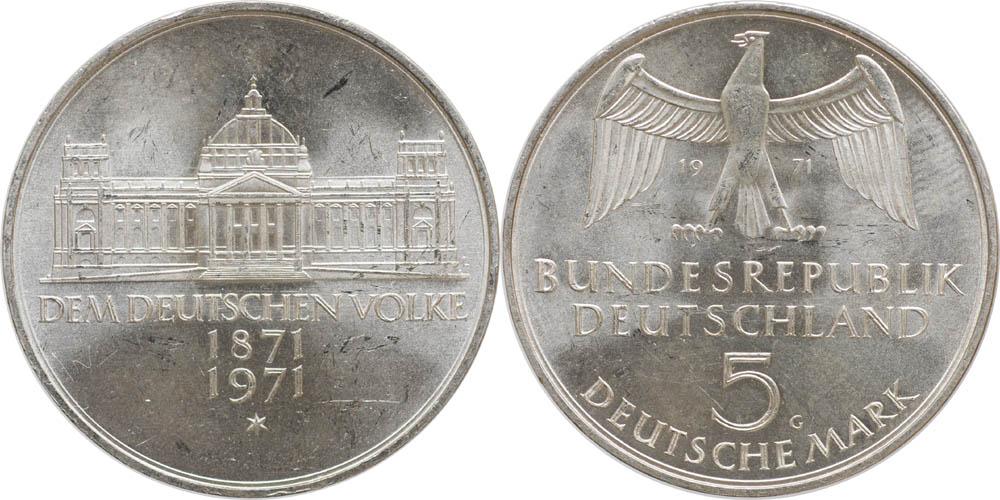 Übersicht:Deutschland : 5 DM Reichsgründung  1971 vz/Stgl.