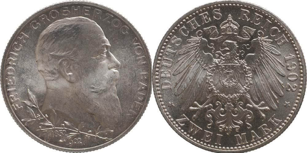 Übersicht:Deutschland : 2 Mark Friedrich I. -fein- 1902 Stgl.