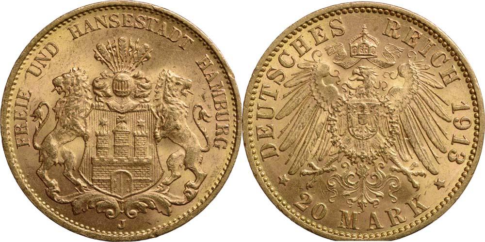 Lieferumfang:Deutschland : 20 Mark Hansestadt  1913 ss/vz.