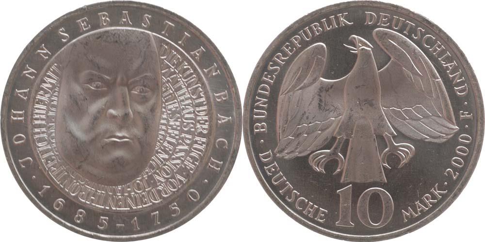 Übersicht:Deutschland : 10 DM J.S. Bach  2000 vz/Stgl.