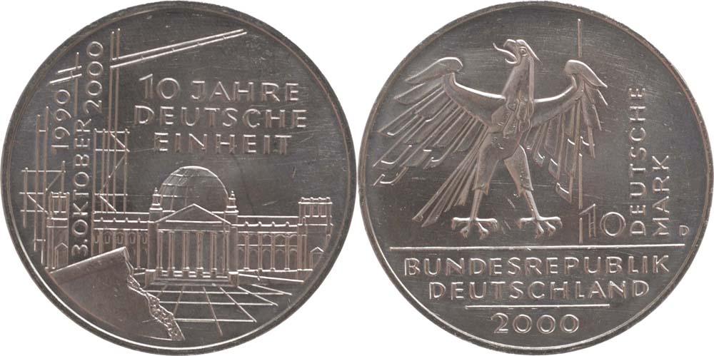 Lieferumfang:Deutschland : 10 DM 10 Jahre Deutsche Einheit  2000 vz/Stgl.