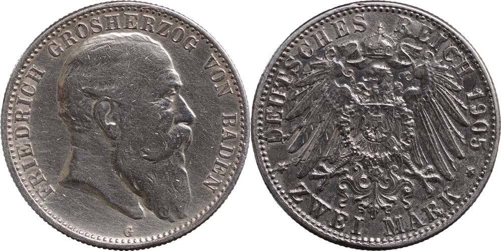Deutschland : 2 Mark Friedrich I.  1905 ss.