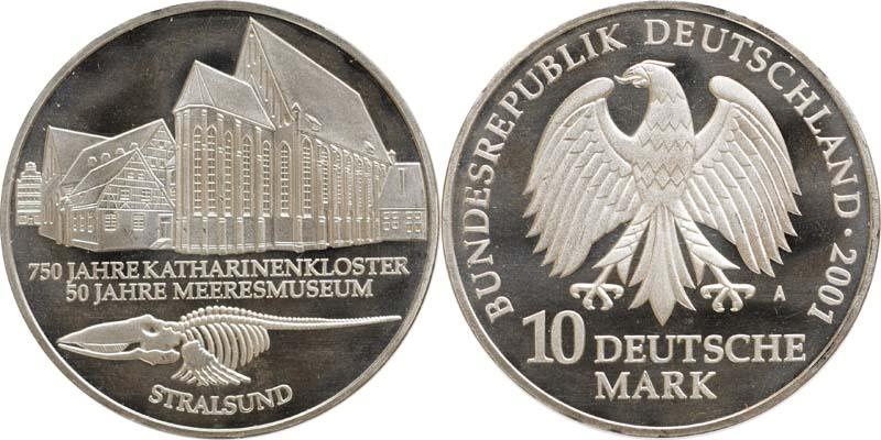 Deutschland : 10 DM 750 J. Katharinenkloster / 50 J. Meeresmuseum Stralsund  2001 vz/Stgl.