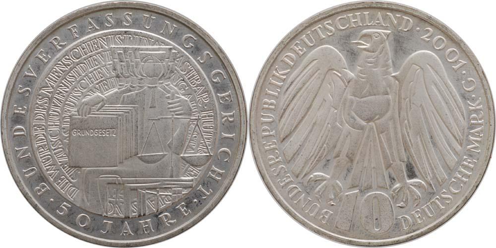 Lieferumfang:Deutschland : 10 DM 50 J. Bundesverfassungsgericht  2001 vz/Stgl.
