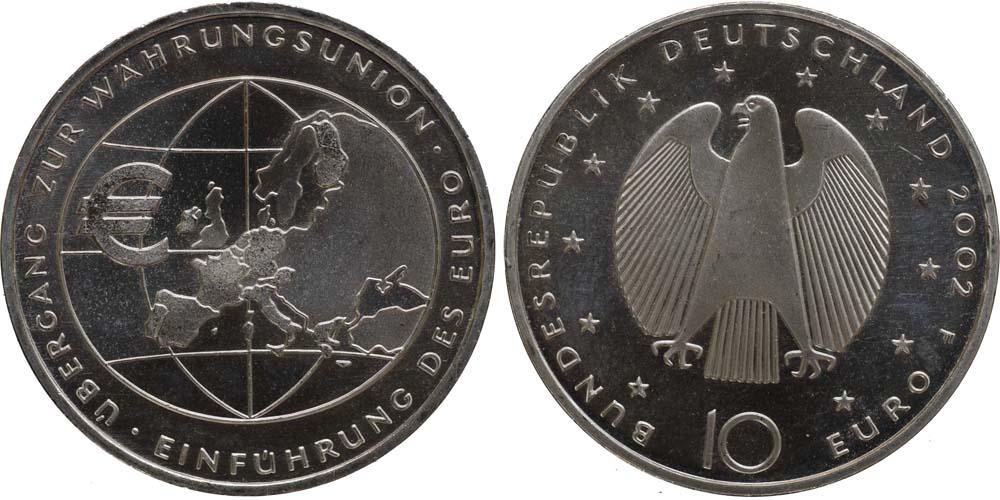 Lieferumfang:Deutschland : 10 Euro Übergang zur Währungsunion - Einführung des EURO  2002 vz/Stgl.