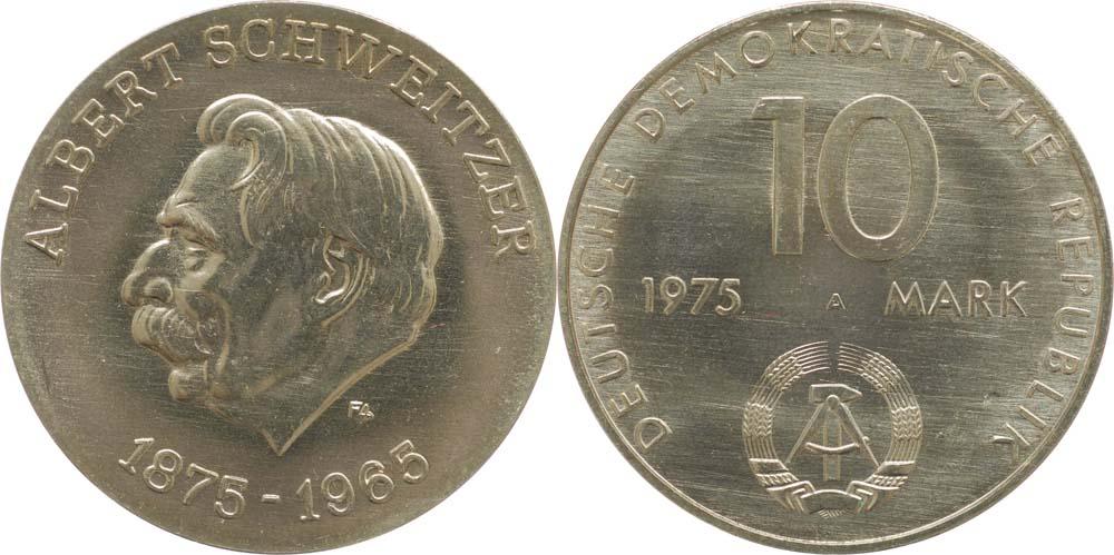Lieferumfang:DDR : 10 Mark Albert Schweitzer (Motivprobe)  1975 vz/Stgl.