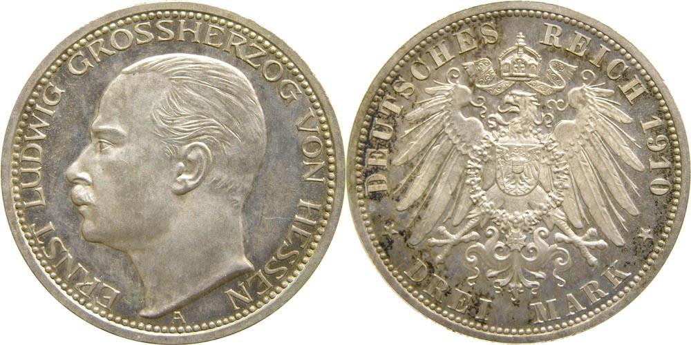 Lieferumfang:Deutschland : 3 Mark Ernst Ludwig  1910 PP