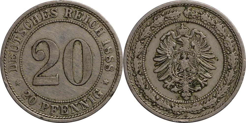 Übersicht:Deutschland : 20 Pfennig   1888 ss.