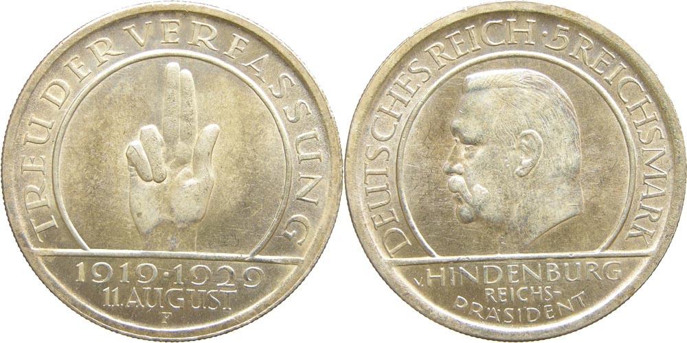 deutschland 5 reichsmark verfassung 1929 f silber f stgl 416 5 euro. Black Bedroom Furniture Sets. Home Design Ideas
