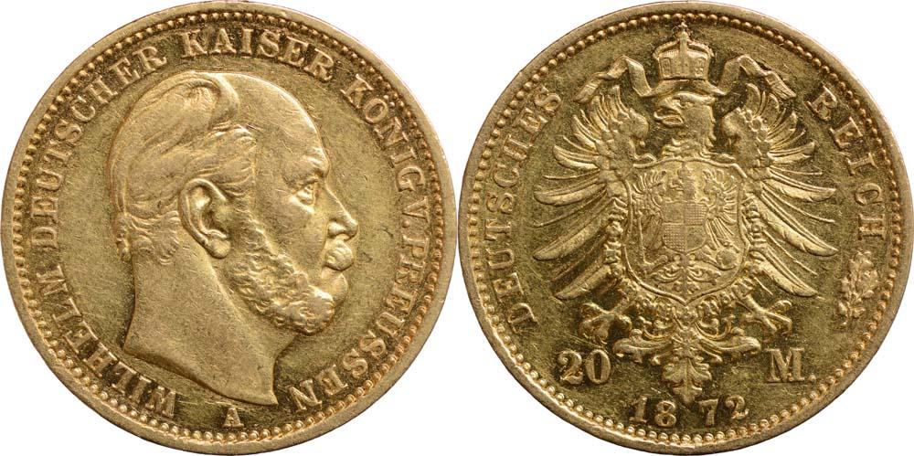 Deutschland : 20 Mark Wilhelm I.  1872 ss/vz.