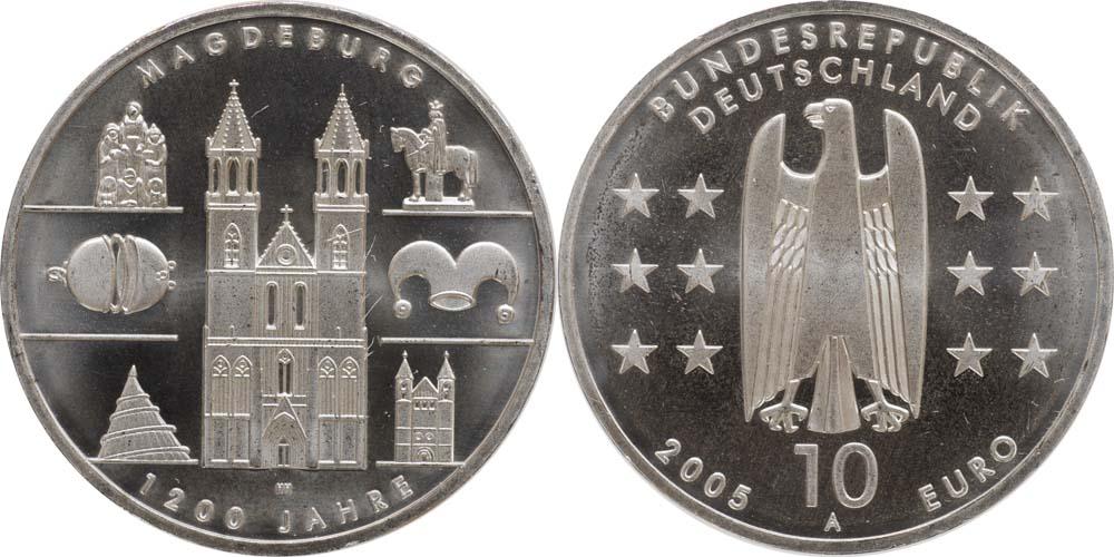 Lieferumfang:Deutschland : 10 Euro 1200 Jahre Magdeburg  2005 bfr